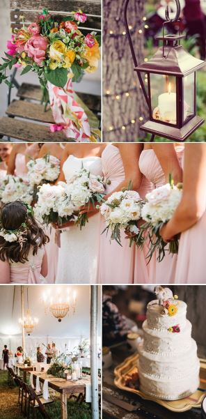 (Photo from Bouquet & Cake-Altmix Photography via Ruffled/Latern-Jared Wilson via Inspired by This/ Reception & Bridesmaids-Mark Williams Studio via Southern Weddings)